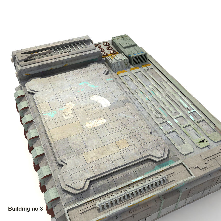 Sci-Fi City Buildings Futuristic royalty-free 3d model - Preview no. 18