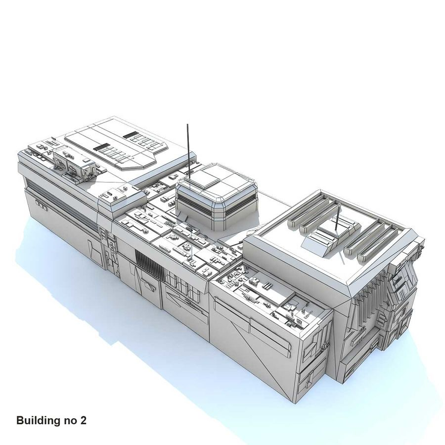 Sci-Fi City Buildings Futuristic royalty-free 3d model - Preview no. 2