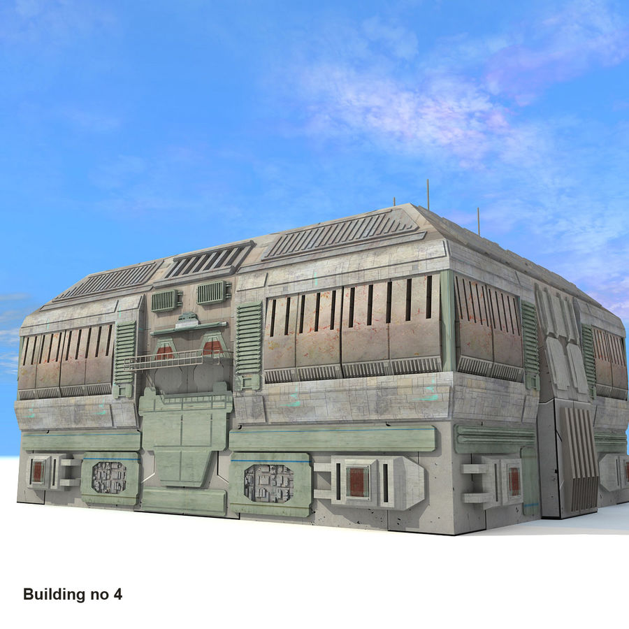 Sci-Fi City Buildings Futuristic royalty-free 3d model - Preview no. 23