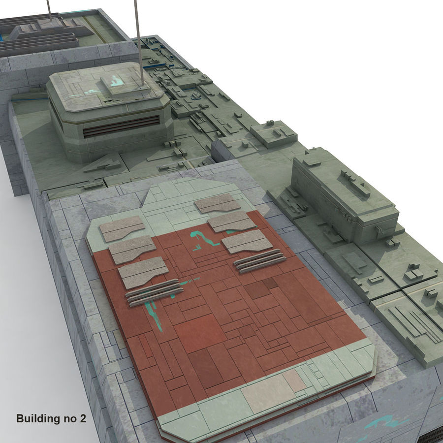 Sci-Fi City Buildings Futuristic royalty-free 3d model - Preview no. 14