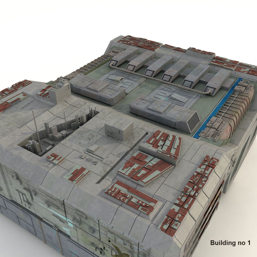 Sci-Fi City Buildings Futuristic royalty-free 3d model - Preview no. 9
