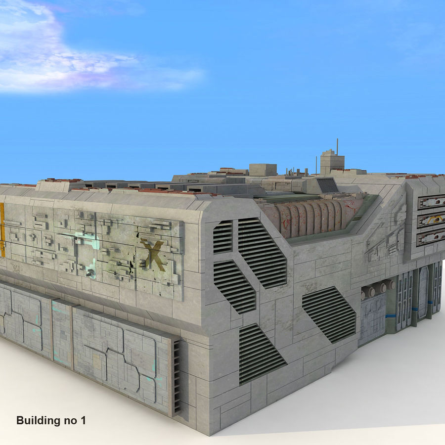 Sci-Fi City Buildings Futuristic royalty-free 3d model - Preview no. 8