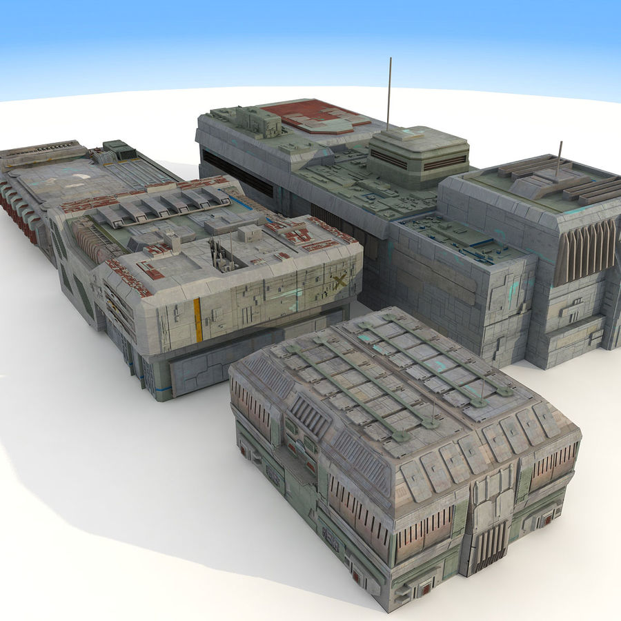 Sci-Fi City Buildings Futuristic royalty-free 3d model - Preview no. 6