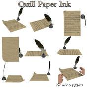 鹅毛笔,纸,墨水 3d model