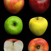 Apples - Red, green, yellow 3d model