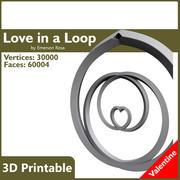 Valentine 3D Yazdırılabilir - Bir Döngü Kolye Aşk 3d model
