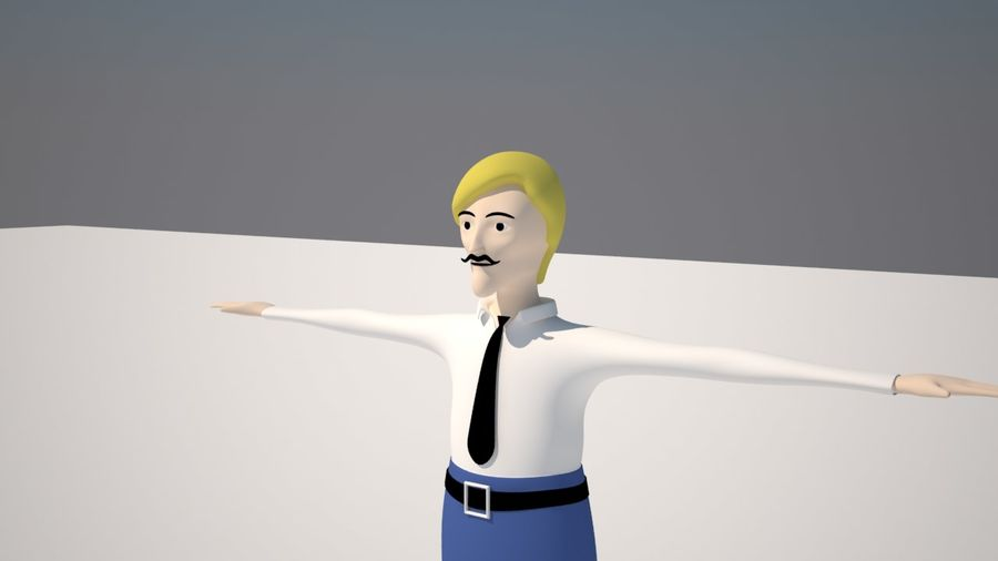 Ung man royalty-free 3d model - Preview no. 4