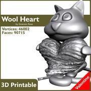 バレンタイン3D印刷可能-猫のウールハート 3d model
