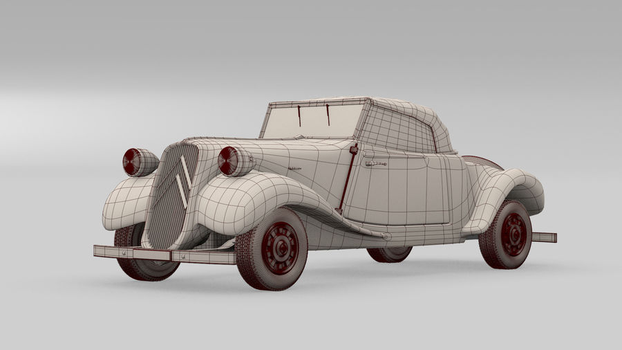 Antigo Citroen 11 CV royalty-free 3d model - Preview no. 5