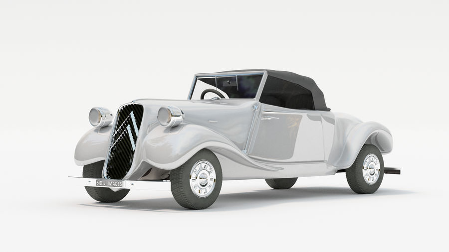 Antigo Citroen 11 CV royalty-free 3d model - Preview no. 6