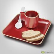 세라믹 컵과 접시와 빵 조각 3d model