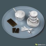Zestaw tac do kawy i tabliczka czekolady 3d model