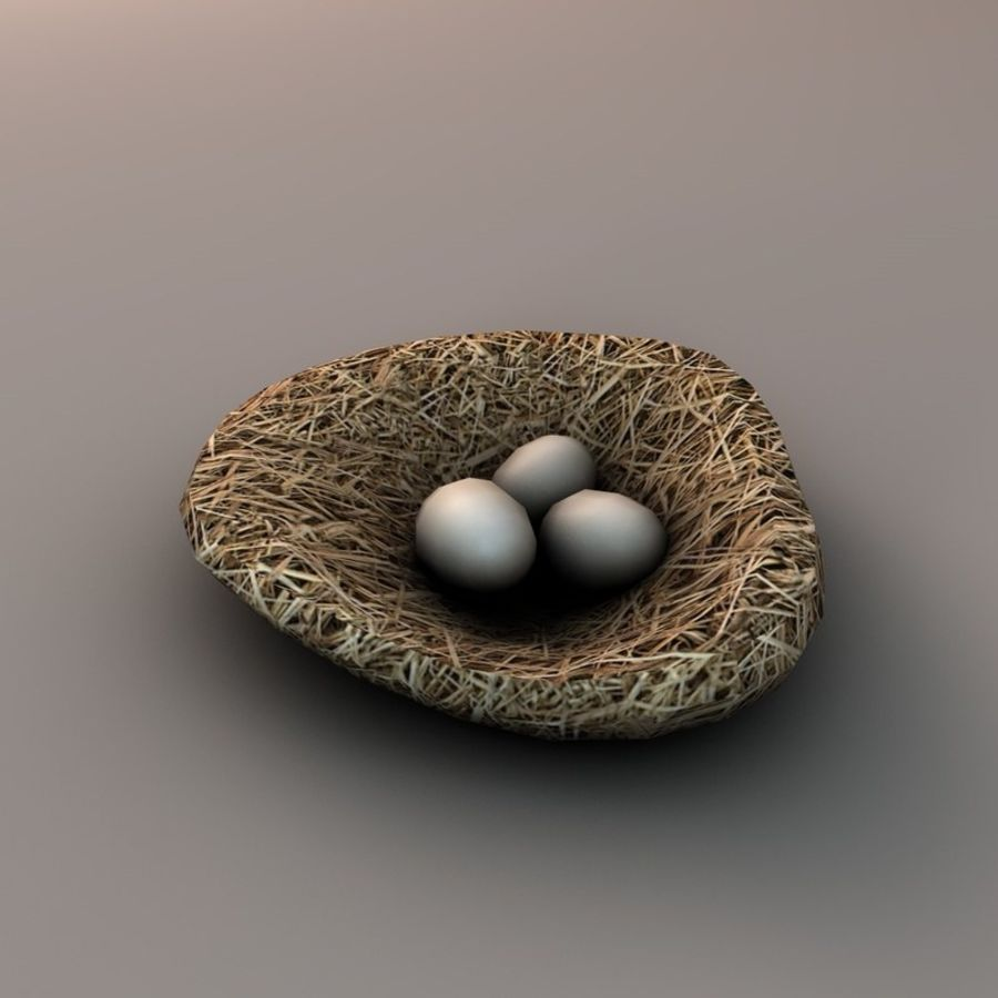 Nest with eggs royalty-free 3d model - Preview no. 3