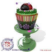 Lady bug cupcake 3d model