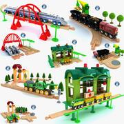 儿童火车套装玩具收藏 3d model