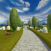 Cartoon-Landschaft und Pfadszene 3d model