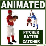 Drei Baseballspieler weiß CATCHER, schwarz BATTER und White PITCHER 3d model
