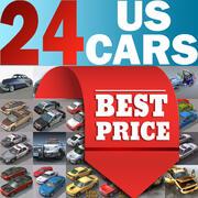 24 coches estadounidenses en tiempo real modelo 3d