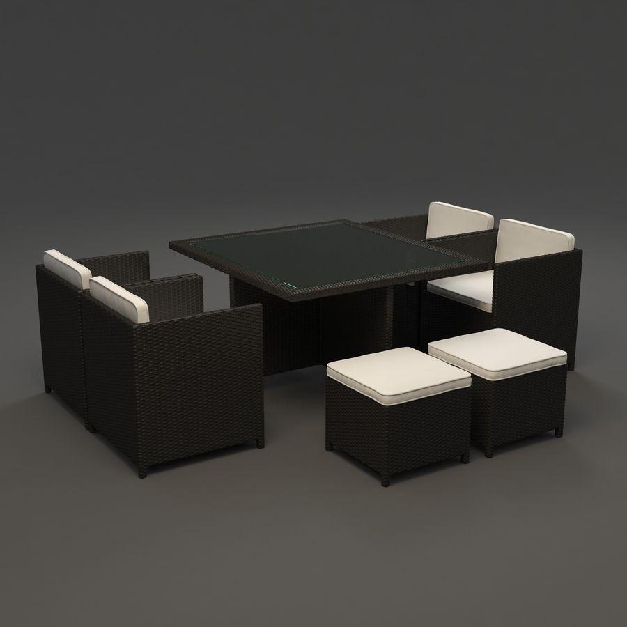 Utomhus dinrottning möbler set royalty-free 3d model - Preview no. 2