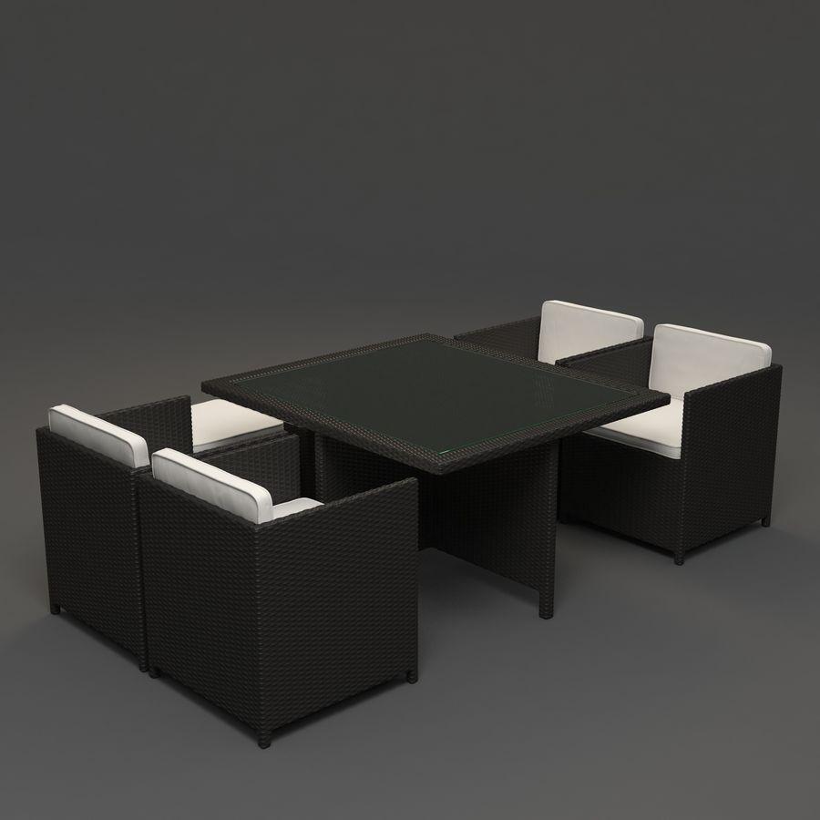 Utomhus dinrottning möbler set royalty-free 3d model - Preview no. 4