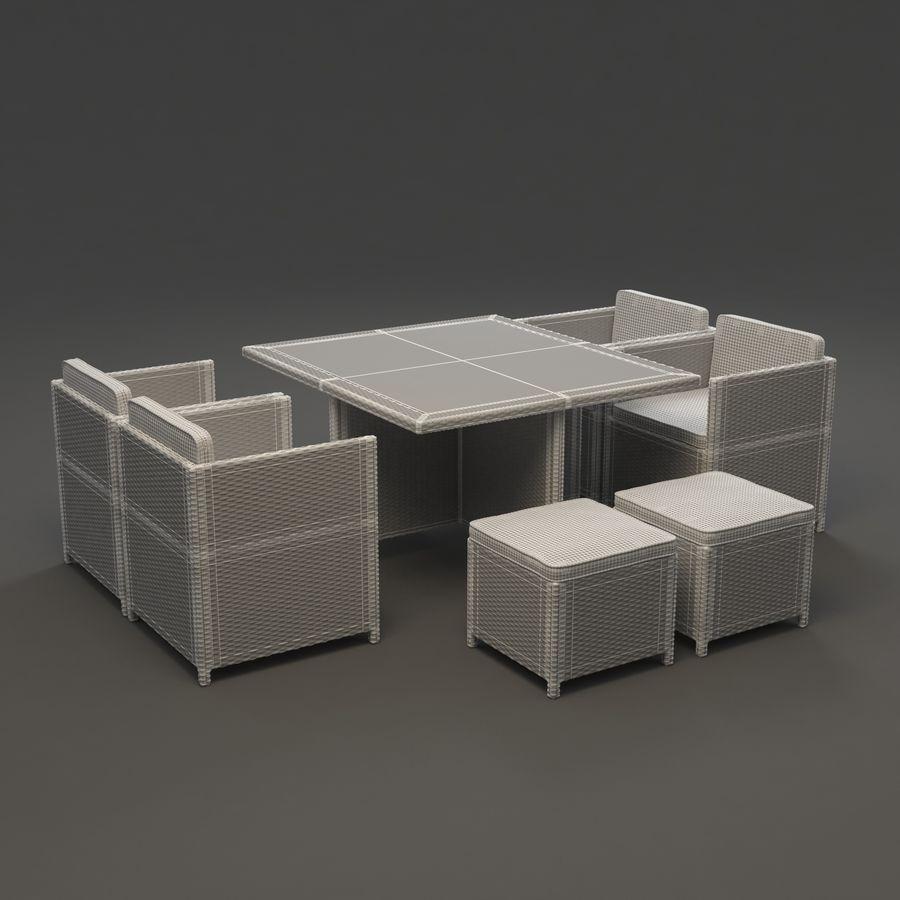 Utomhus dinrottning möbler set royalty-free 3d model - Preview no. 3