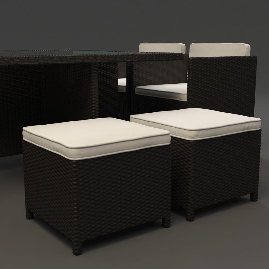 Utomhus dinrottning möbler set royalty-free 3d model - Preview no. 8