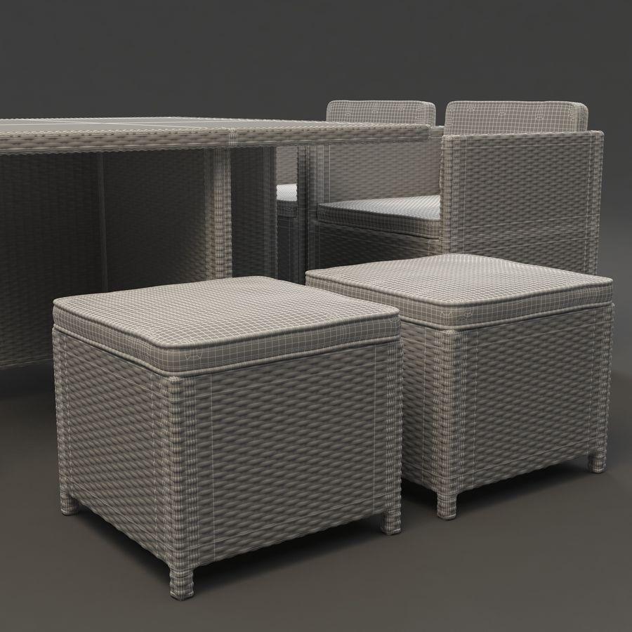 Utomhus dinrottning möbler set royalty-free 3d model - Preview no. 9