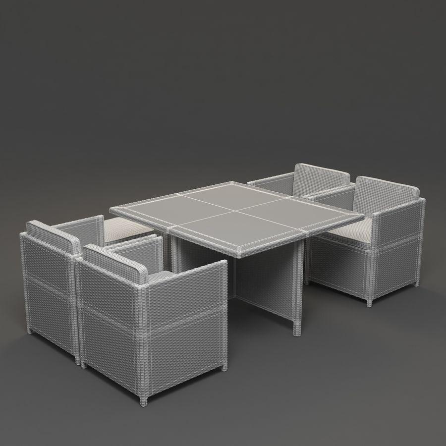Utomhus dinrottning möbler set royalty-free 3d model - Preview no. 5