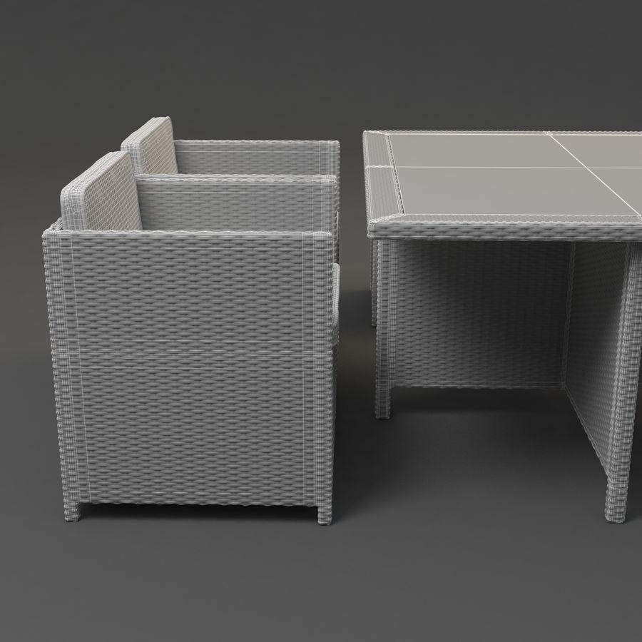 Utomhus dinrottning möbler set royalty-free 3d model - Preview no. 7