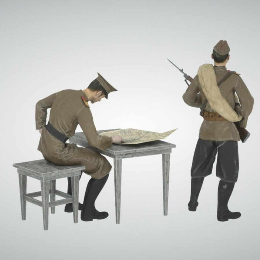 Soldiers WW1 royalty-free 3d model - Preview no. 5