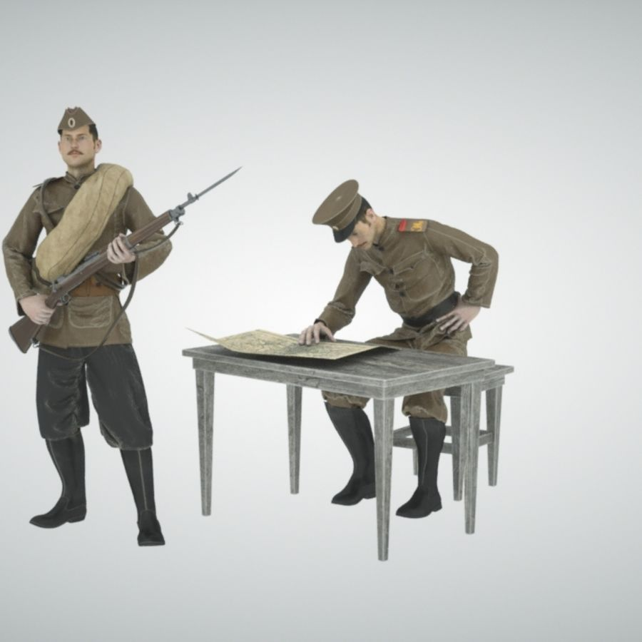 Soldiers WW1 royalty-free 3d model - Preview no. 4
