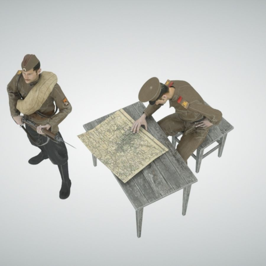 Soldiers WW1 royalty-free 3d model - Preview no. 7