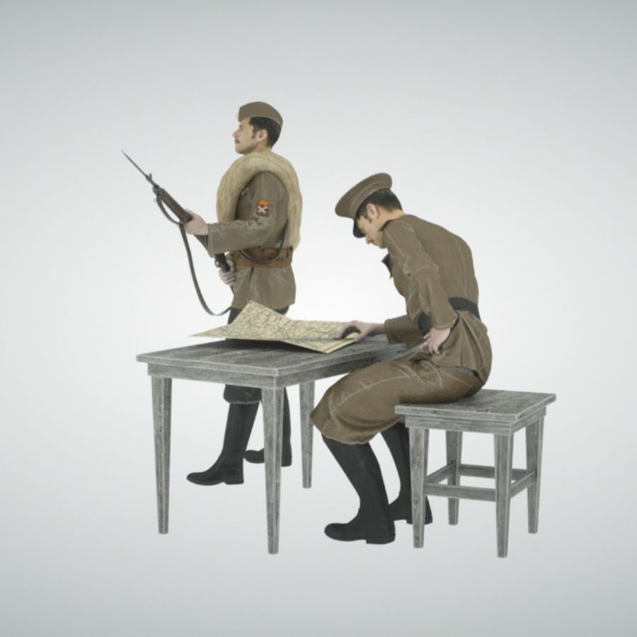 Soldiers WW1 royalty-free 3d model - Preview no. 3