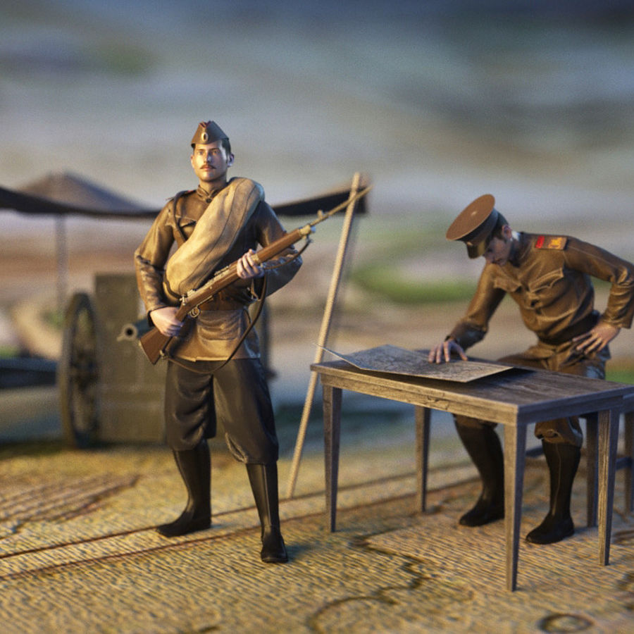 Soldiers WW1 royalty-free 3d model - Preview no. 1