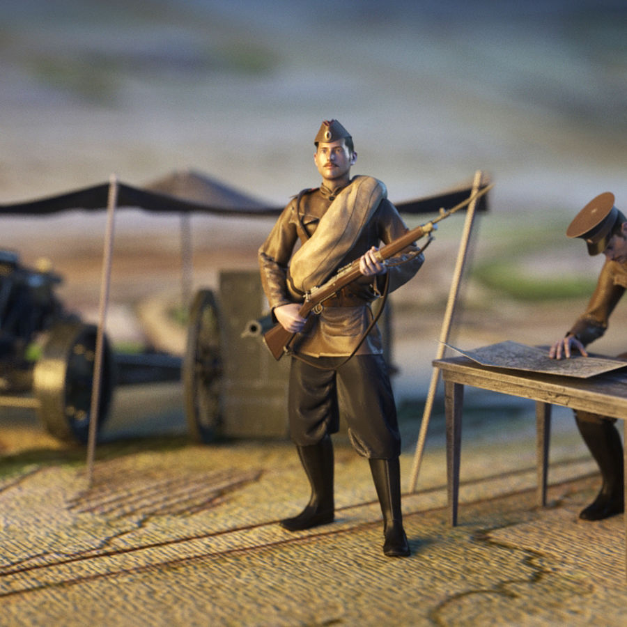 Soldiers WW1 royalty-free 3d model - Preview no. 2