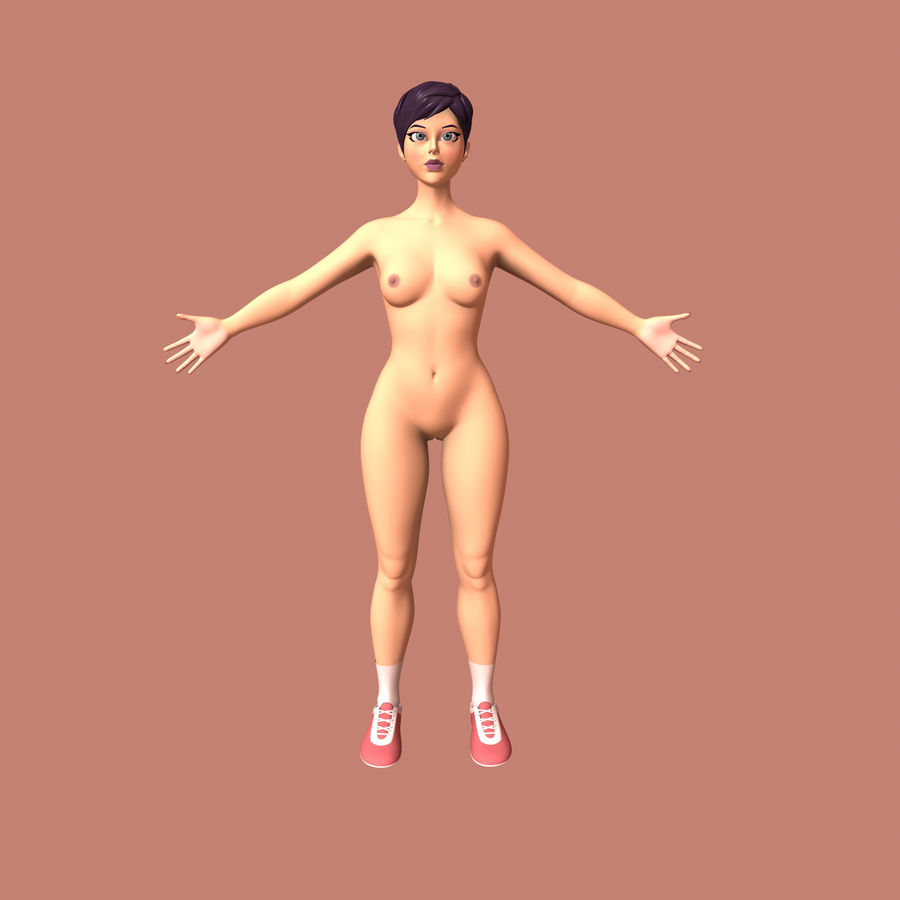 Cartoon Woman royalty-free 3d model - Preview no. 11