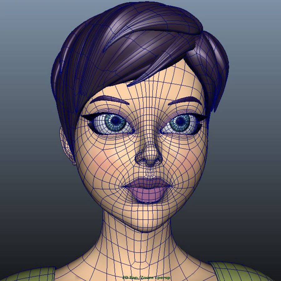 Cartoon Woman royalty-free 3d model - Preview no. 4