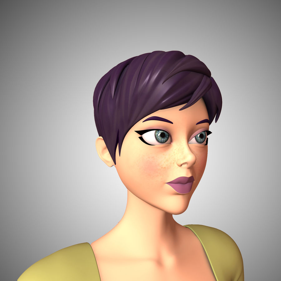 Cartoon Woman royalty-free 3d model - Preview no. 2