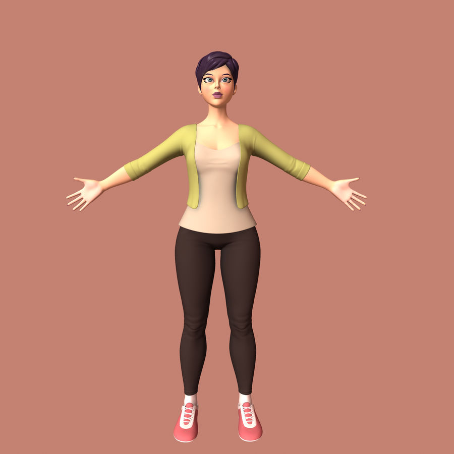 Cartoon Woman royalty-free 3d model - Preview no. 5