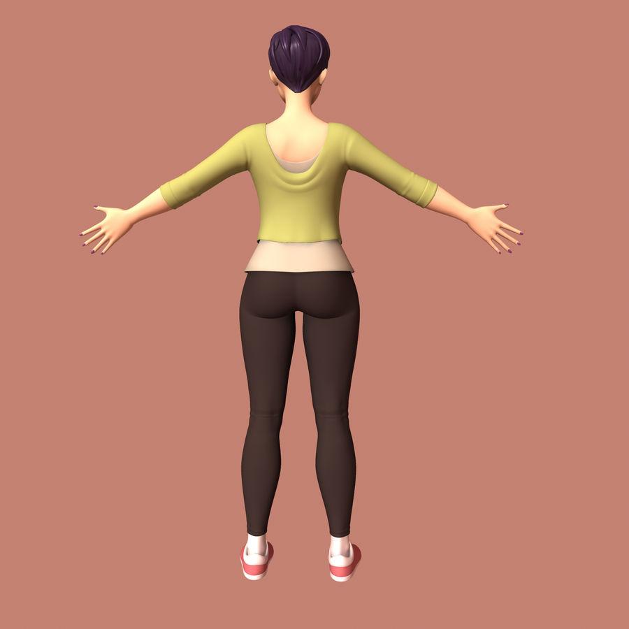 Mulher dos desenhos animados royalty-free 3d model - Preview no. 6