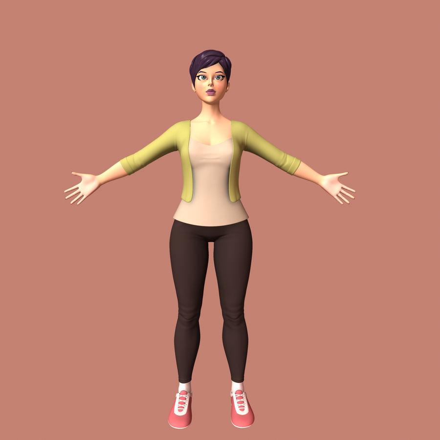Femme de bande dessinée royalty-free 3d model - Preview no. 5