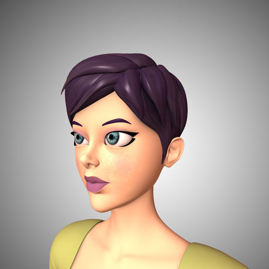 Cartoon Woman royalty-free 3d model - Preview no. 3