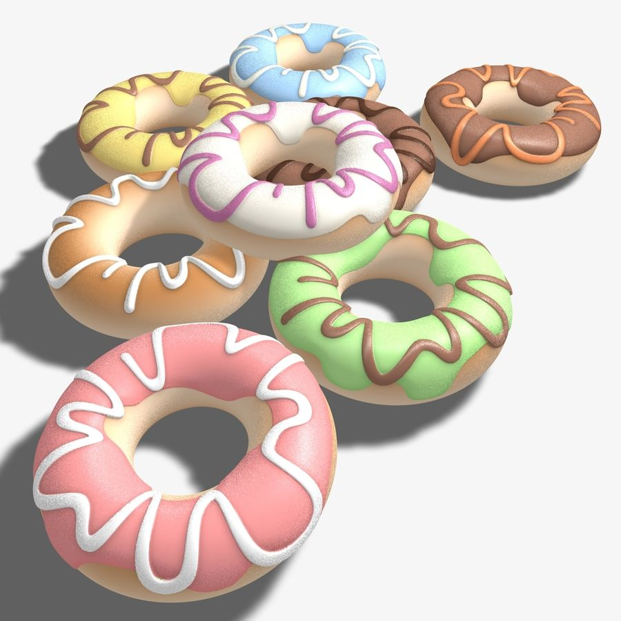 Ring Doughnuts royalty-free 3d model - Preview no. 7
