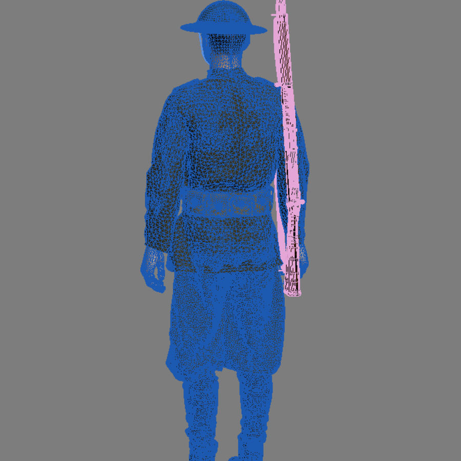 イギリス兵WW1 royalty-free 3d model - Preview no. 10