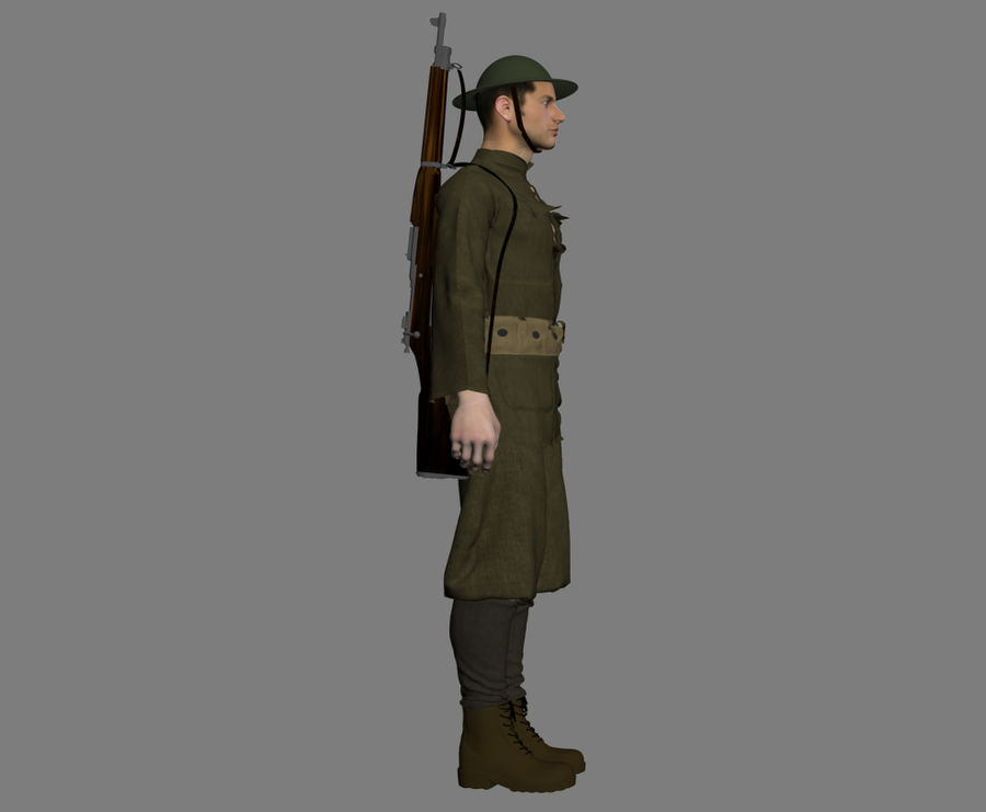 イギリス兵WW1 royalty-free 3d model - Preview no. 8