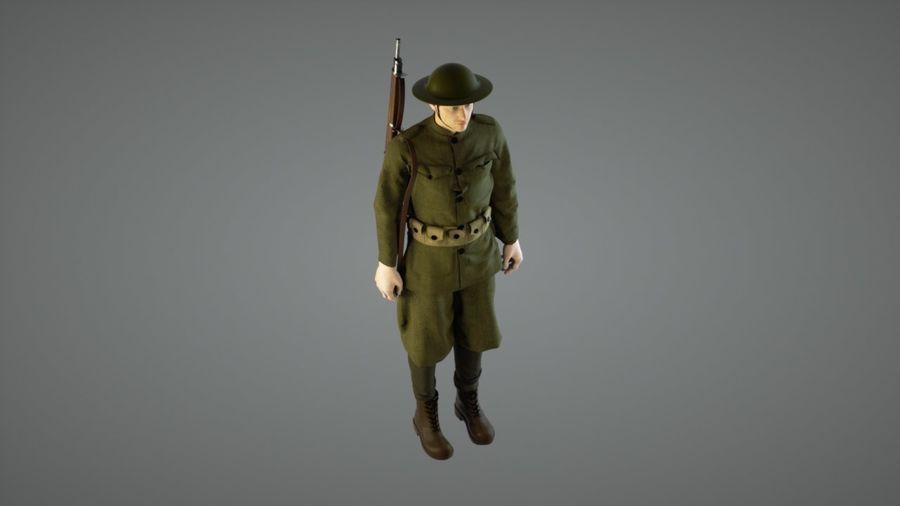 イギリス兵WW1 royalty-free 3d model - Preview no. 4