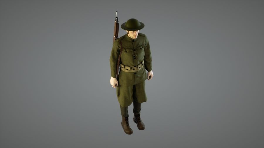 British soldier WW1 royalty-free 3d model - Preview no. 4