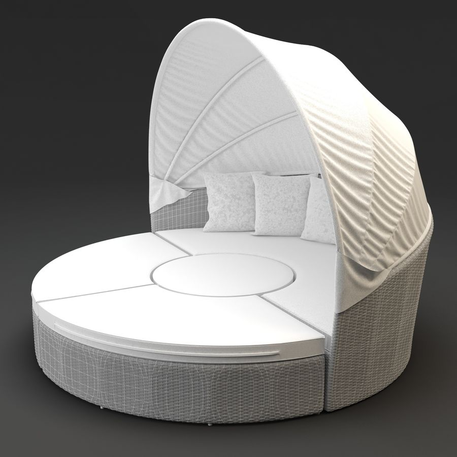 Quest Daybed - Synthetic rattan garden furniture 9D Model $9