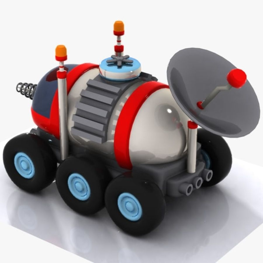 Cartoon Space Car 1 royalty-free 3d model - Preview no. 7