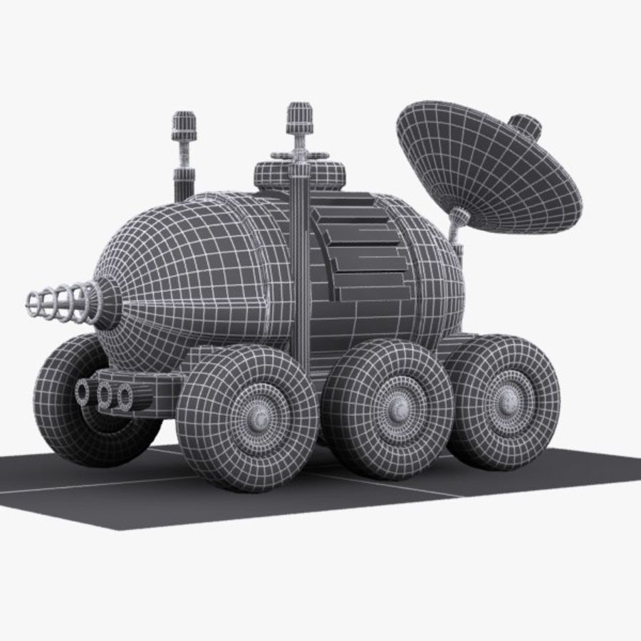 Cartoon Space Car 1 royalty-free 3d model - Preview no. 10